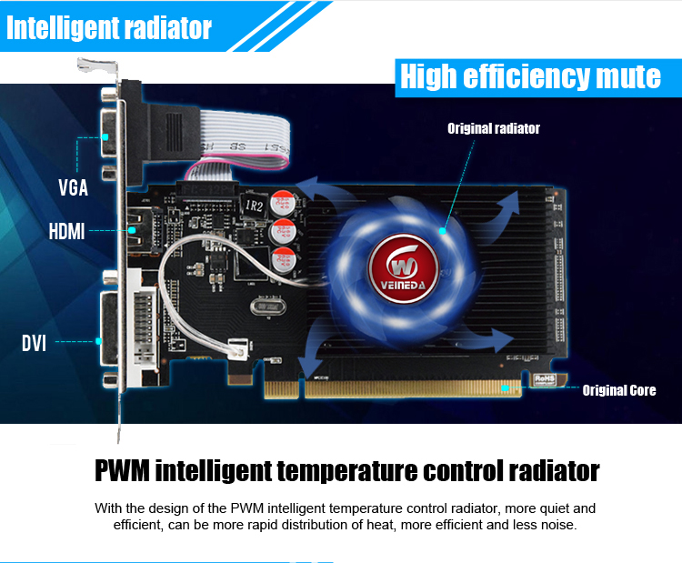 Original GPU Veined Graphics Cards With 625 MHZ Core Speed For ATI Radeon Gaming 8