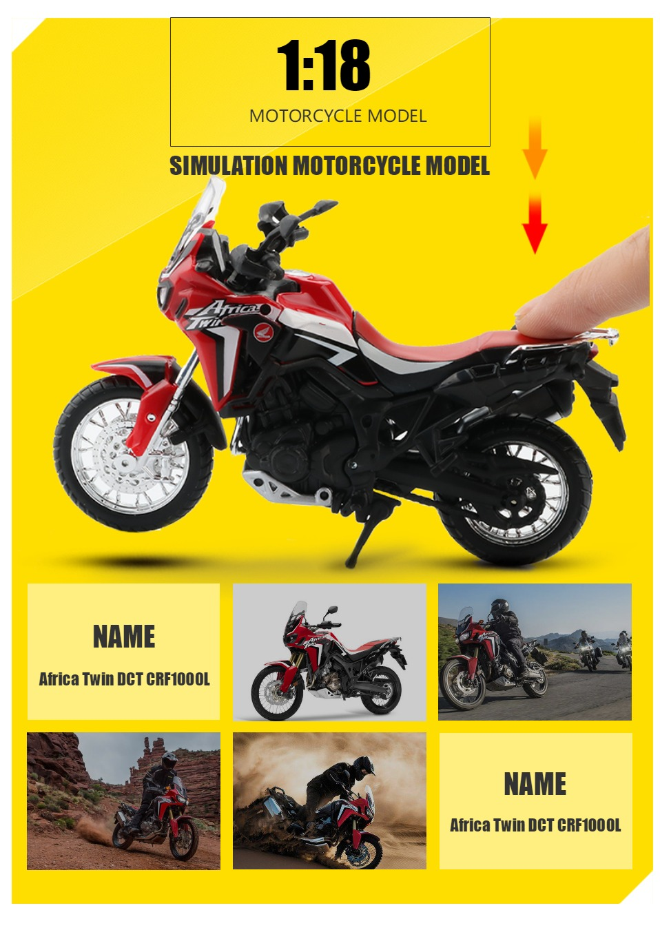 Africa Twin DCT CRF1000L Motorcycle Toy Model 8