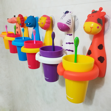 Childrens Toothbrush Holder Mouth cup set Wall-Mounted Cartoon Bathroom Cute Animal