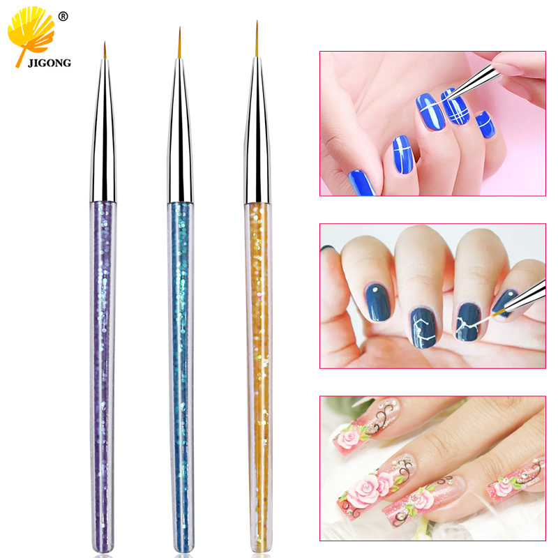 3pcs/set 7mm 9mm 11mm Liner Brush Nail Art Painting Metal Marble Acrylic Drawing Line Pen UV Gel Tip Nail Tool