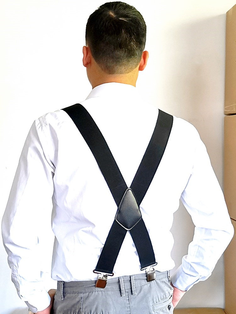 Men Suspenders Back-Trousers Adjustable Braces Strong-Clips Heavy-Duty 50mm Wide X 4