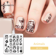 Geboren Pretty Animal Series Stamping Plates Stempel Template Uil Ontwerp Bloem Afbeelding Plaat Stencil Nagels Afdrukken Gereedschap