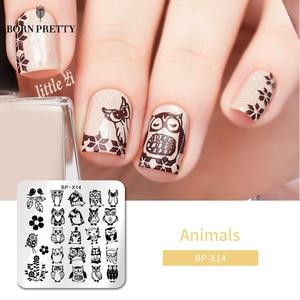 Image 1 - Geboren Pretty Animal Series Stamping Plates Stempel Template Uil Ontwerp Bloem Afbeelding Plaat Stencil Nagels Afdrukken Gereedschap