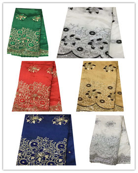 Beautiful African George Lace Fabric High Quality Indian Silk George Lace 5 Yards With Sequins Asoebi Party Lace Dress Fabric