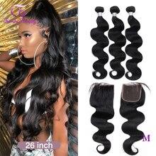 Onda do corpo brasileiro cabelo humano 3/4 pacotes com 4x4 fechamento do laço médio/livre/três não-remy frete grátis na moda beleza cabelo