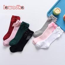 Spring Autumn Kids Long Stockings Bow Solid Socks For Girls Fashion Princess Children