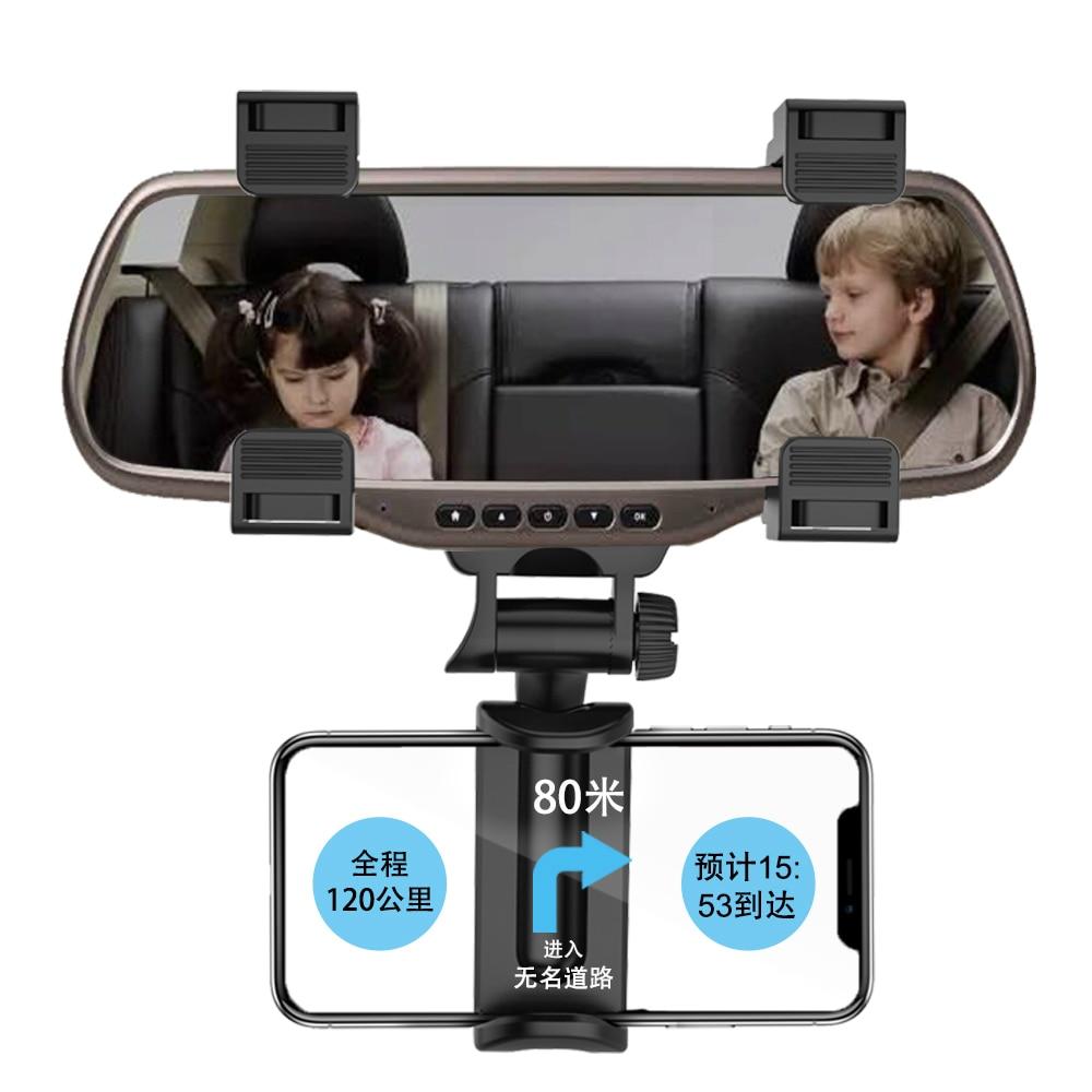 "Car Phone Holder Rearview Mirror Mount Stand Holder for iPhone Huawei Samsung GPS Adjustable Car 4-5.8"" Smartphone Holder"