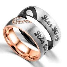 Nowy tytanu stali nierdzewnej pół serce ze stali nierdzewnej rocznica zaręczyny para pierścienie dla kobiet mężczyzn Vnox jej król jego królowa para