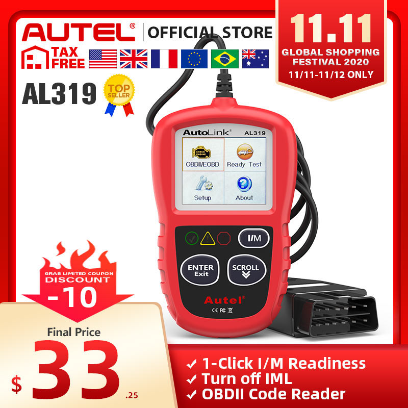 Autel AutoLink AL319 Auto Diagnostic Tool OBD2 Code Reader Autel Al319 OBD 2 Scanner Automotriz Read Erase DTC PK elm327 CR3001