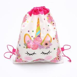 Image 3 - 1pc Cotton Unicorn Print Bag For Girls Kids Toys Soft Plush Drawstring Backpack For Children Toys Storage Bag Schoolbag For 1kg