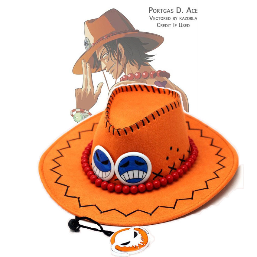 One Piece Portgas D Ace Cowboy Hat Cap Cosplay Costume Acces PropS Gift Pretty