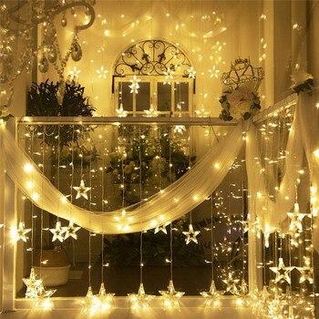 138 LEDS Star Lamp Curtain String Light 220V Garland Christmas Holiday Fairy Lights Wedding Birthday Party Decoration Lights