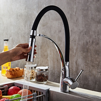 360 Rotation Kitchen Faucet Black Push-in Kitchen Sink Faucet Cold Hot Water Mixer Colorful Single Handle Tap quyanre black led orb kitchen faucet pull out sprayer 360 rotation single handle mixer tap sink faucet black rubber faucets