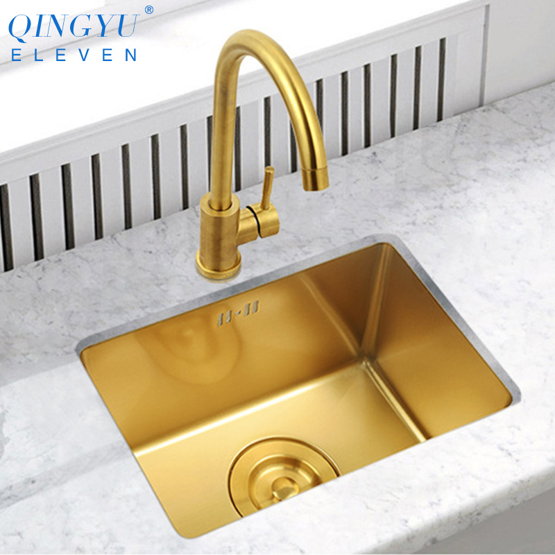 Gold Kitchen Sink Nanometer Technology Gold 4mm Thickness 304 Stainless Steel Manual Sink Single Bar Counter Kitchen Sink