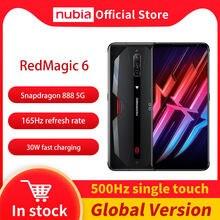 Dhl livre nubia magia vermelha 6 jogos smartphone versão global 6.8 snap' 165hz amoled snapdragon 888 octa núcleo 30w carga redmagic 6
