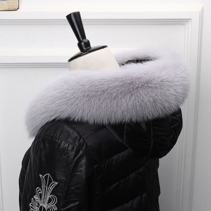 Image 5 - Ms.MinShu Fox Fur Collar For Hood Natural Fox Fur Hood Trim Scarf Big Fur Collar 100% Real Fox Fur Collar Trim Custom Made-in Women's Scarves from Apparel Accessories on AliExpress