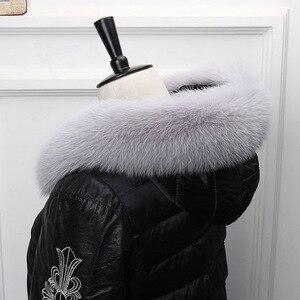 Image 5 - Ms.MinShu Fox Fur Collar For Hood Natural Fox Fur Hood Trim Scarf Big Fur Collar 100% Real Fox Fur Collar Trim Custom Made