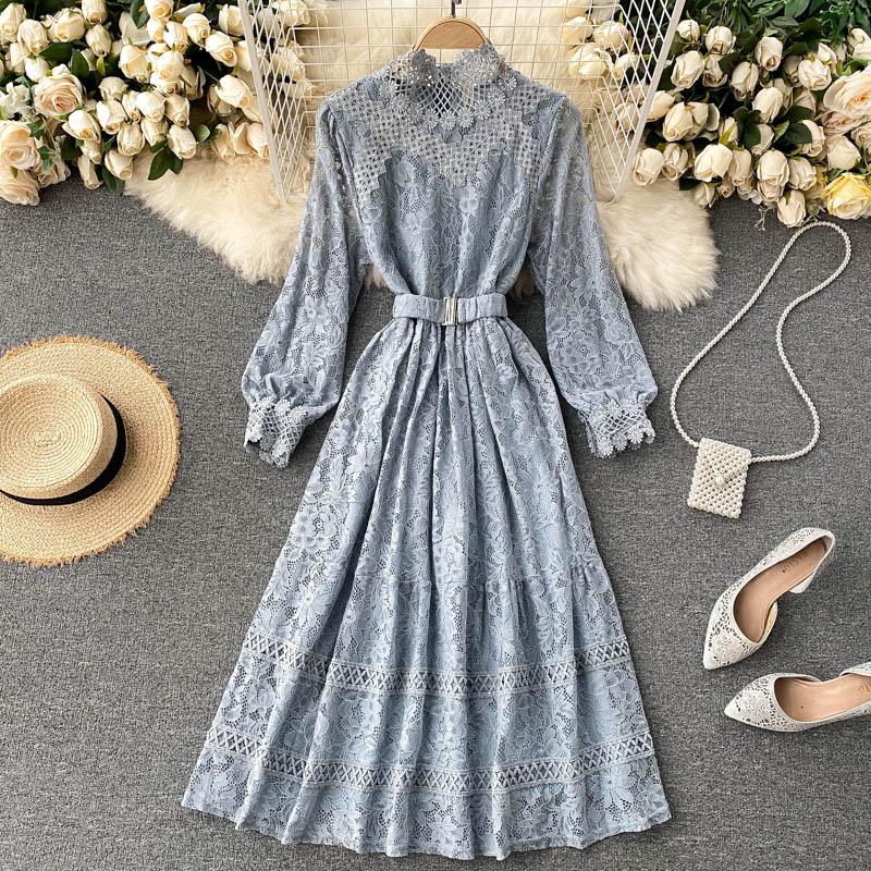 Vintage Spitze Aushöhlen frauen Kleid Herbst 2020 Stehkragen Langarm Hohe Taille Süße Schwarz/Rosa/beige Robe Mode Neue