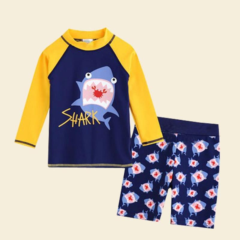 KID'S Swimwear BOY'S Swimming Trunks Split Type Long Sleeve Sun-resistant Quick-Dry South Korea Big Virgin Boy Baby Thermal Suit