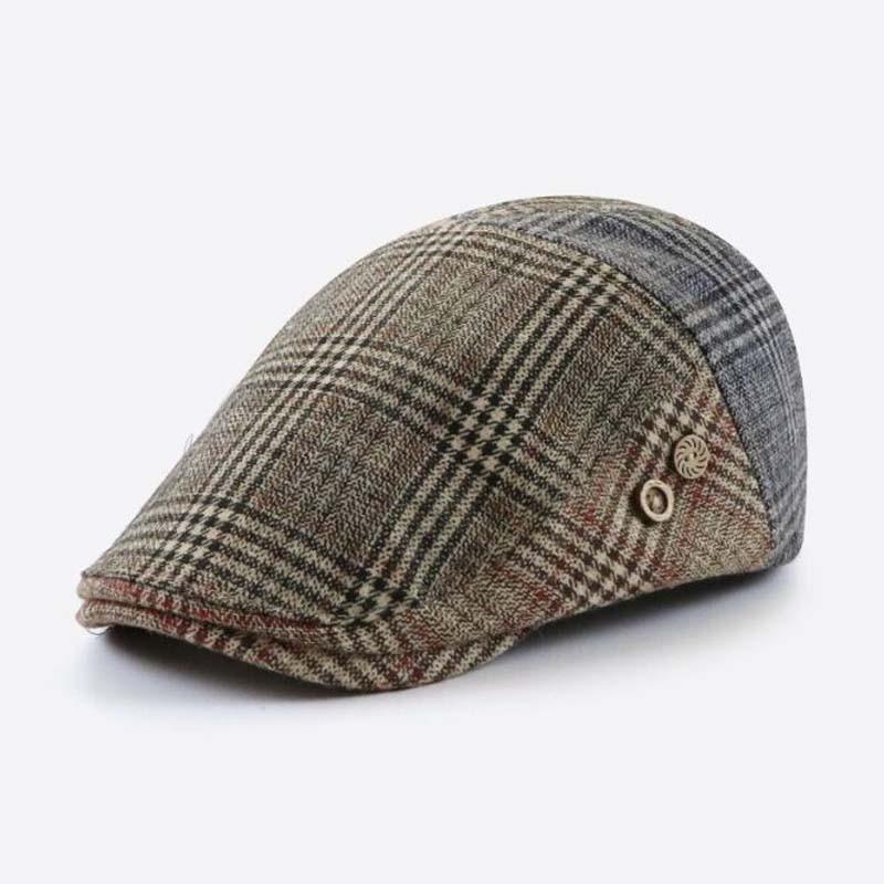 XEONGKVI New British Wool Contrast Color Plaid Beret Cap Winter Warm Wool Hats For Women Joker Peaked Cap Casquette