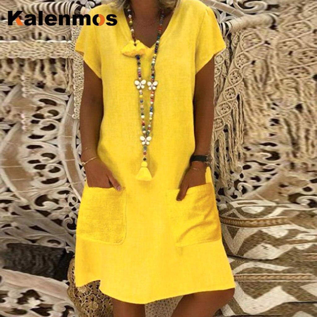 Kalenmos Summer Beach Dress Women Solid V-Neck Short Sleeve Mini Dresses Pocket Casual Plus Size Loose Ladies Daily Vestido 2020