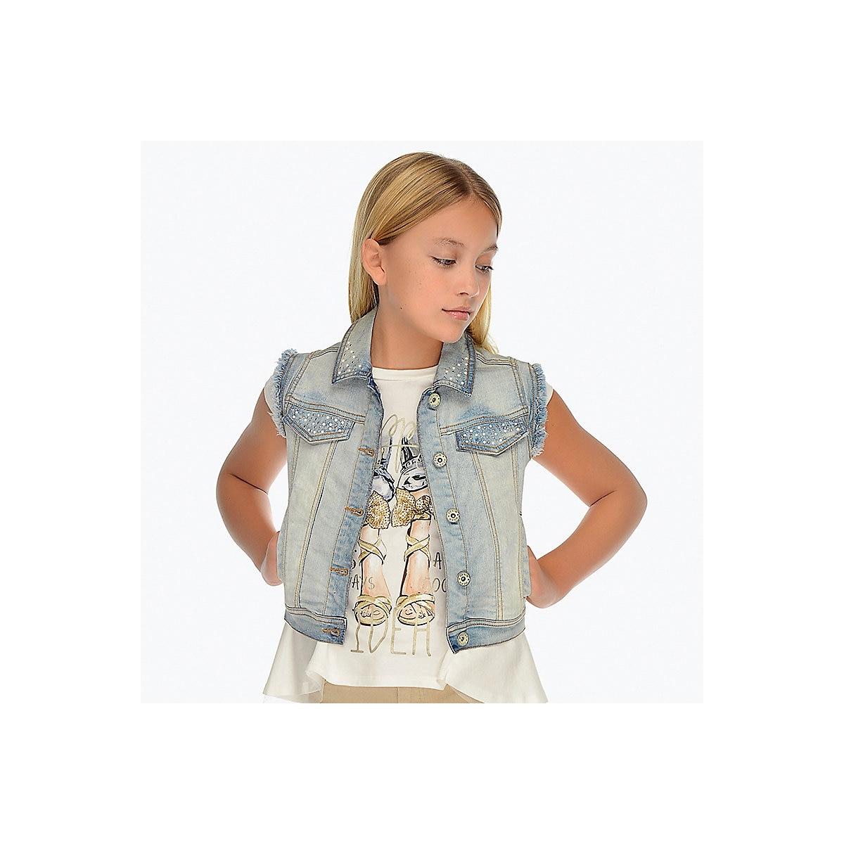 MAYORAL Vests & Waistcoats 10678541 jacket Cotton Blue Girls Casual Denim ribbed hem zip up denim jacket