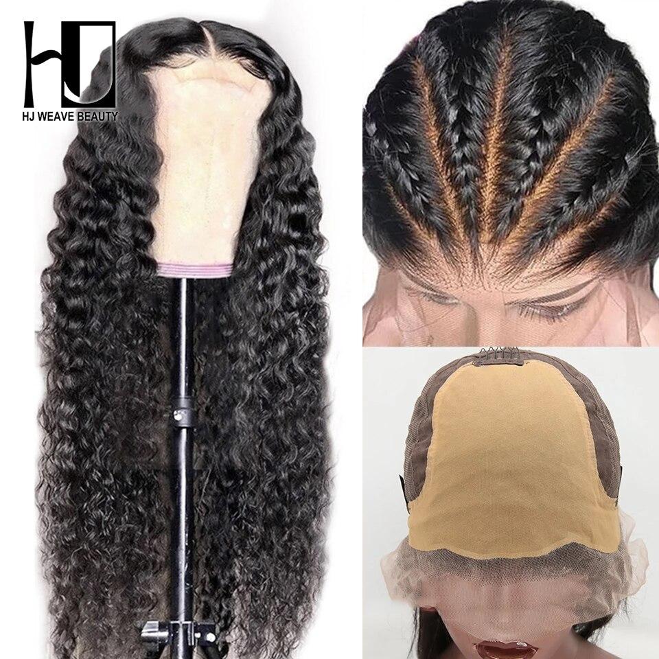 Peruca falsa invisível do couro cabeludo brasileiro encaracolado frente do laço perucas de cabelo humano pré arrancadas com o cabelo do bebê perucas de onda profunda para mulher