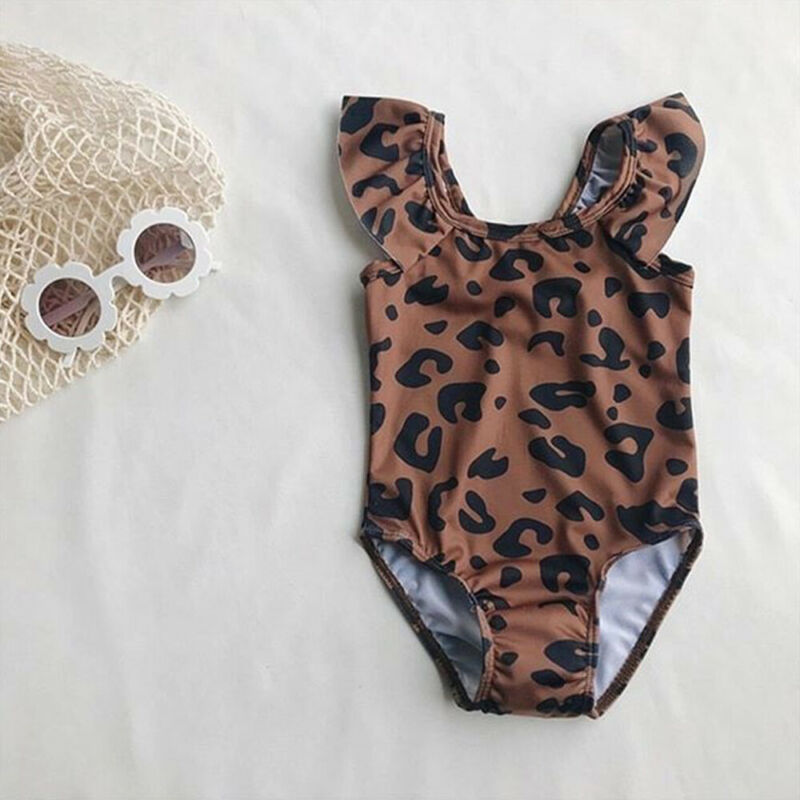 New Infant Kids Baby Girl Leopard Print One Piece Swimming Costume Swimsuit Swimwear Outfits 0-5Y