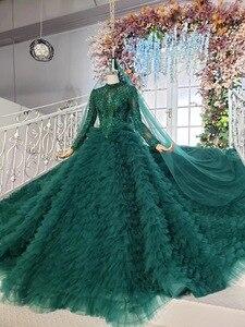 Image 4 - Tier שכבה חצאיות ארוך רכבת ירוק כדור שמלת חתונת שמלות 2019 ראפלס כלה חתונה שמלת טול Tessal חתונה שמלות