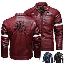 Kurtka zimowa mężczyźni skórzana kurtka motocyklowa haft płaszcz z suwakiem mężczyźni moda Streetwear płaszcz czarna kurtka i płaszcze męskie 2020 tanie tanio DUOFIER STANDARD Faux leather Batik Skóra i zamszowe NONE COTTON embroidery long REGULAR zipper Pełna Moto Biker