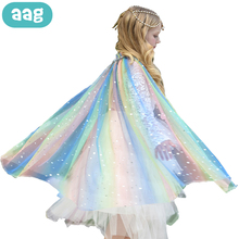 AAG NEW Child Girls Rainbow Sequins Cape Cloak Costume Cosplay Tulle Princess Girl Shawl Kids Clothes Dress Party Mantle Girls 2020 new bridal dress cloak tulle princess proof shawl party stage catwalk photographic portrait tulle cloak
