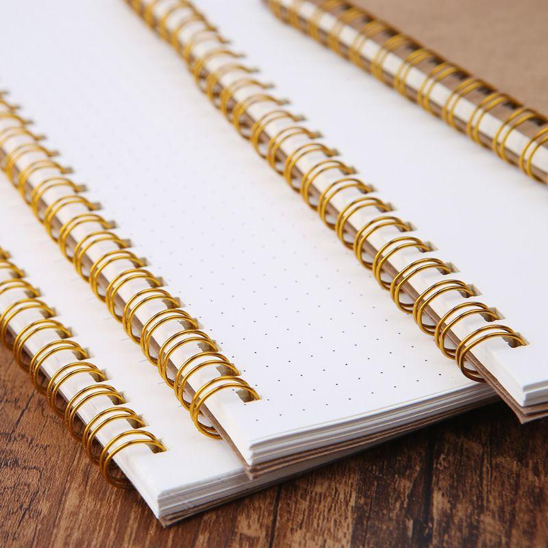 2021 New A5 Bullet Notebook Kraft Dot Grid Time Management Blank Book Spiral Journal Weekly Planner School Office Supplies