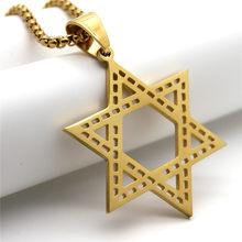 Magen estrela de david pingente israel colar mulher aço inoxidável judaica cor ouro judaico jóias dos homens dropship yjm005