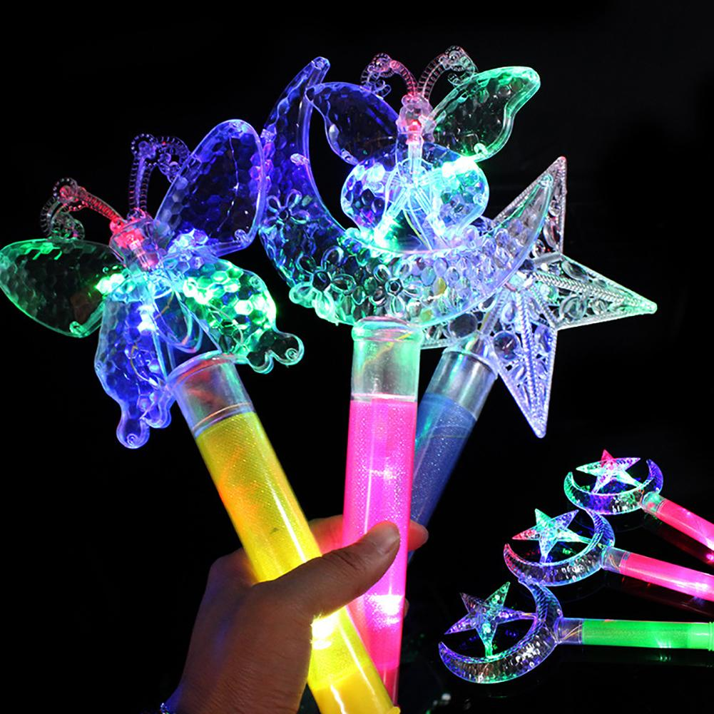 Funny LED Light Star Moon Crown Butterfly Flash Toy Children Glow Stick Gift Light Stick Children's Toy Gift Butterfly Flash Toy