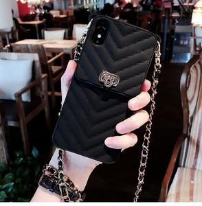 Image 2 - Crossbody carteira caso capa para iphone 11 12 pro xs max xr x 10 8 7 6s plus slot para cartão bolsa capa com alça de ombro longa corrente