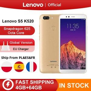 Lenovo S5 K520 с глобальной версией, 4 Гб ОЗУ, 64 Гб ПЗУ, Смартфон Snapdragon 625, четыре ядра, двойная задняя камера 13 МП, фронтальная камера 16 МП, мобильный телефон ID4K Промокод: newyear600  newyear1200