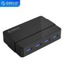 Портативный usb разветвитель ORICO, 4 порта, концентратор USB 3,0, 5 Гбит/с, сверхскоростной, с адаптером питания 12 В, аксессуары для ноутбуков и настольных ПК