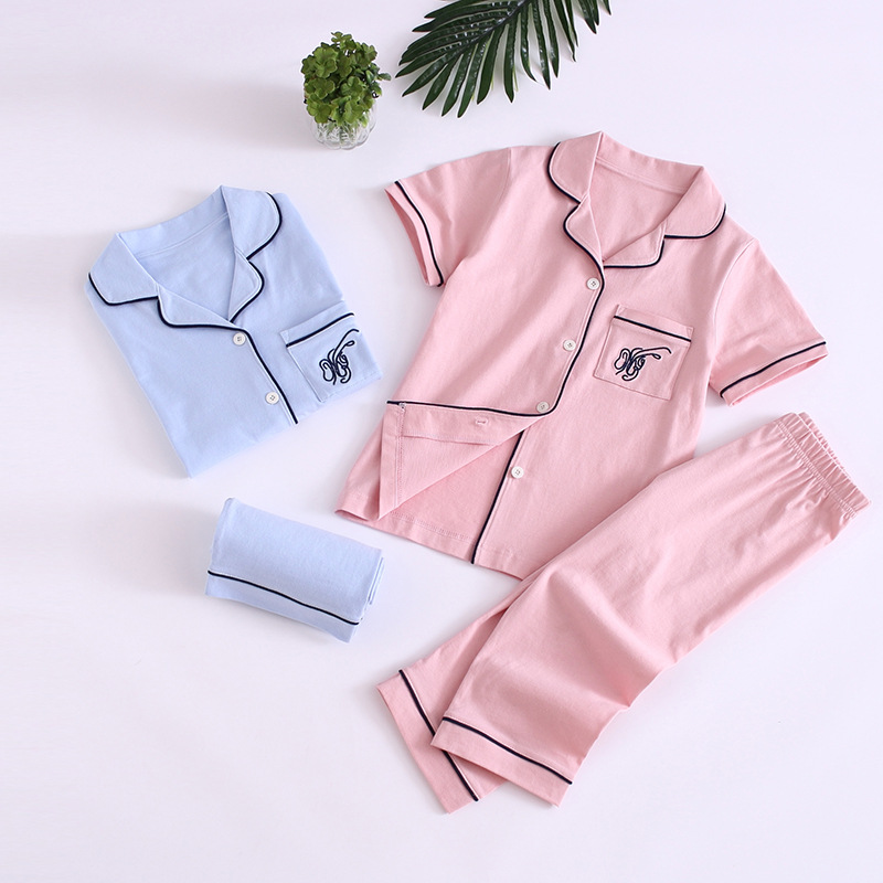 Summer Pajamas Cotton Short Sleeve Capri Pants Mom And Dad Pro Children Clothing Home Clothes BOY'S Girls' Pajama Class A