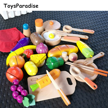 32Pcs Deluxe Cooking Ware Set Kitchen Wooden Toys For Kids Fruits/Bread Simulation Cutting Set Food Educational Girls Gift