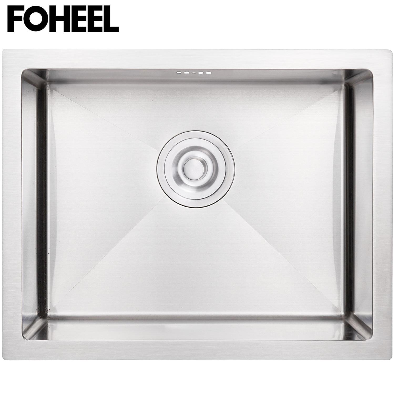 FOHEEL Kitchen Sink Drain Basket And Drain Pip Rectangular Stainless Steel Kitchen Sink Slot Dish Basin