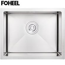FOHEEL Kitchen Sink Drain Basket And Drain Pip Rectangular Stainless Steel Kitchen Sink Slot Dish Basin viborg deluxe 304 stainless steel deodorizing kitchen sink double strainer basket drain set with drain pipes k gsl 114b