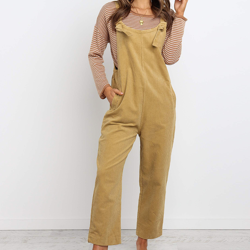 Trousers Overalls Dungarees Corduroy Ladies Playsuit Spaghetti-Strap Womens Solid Slim-Fit