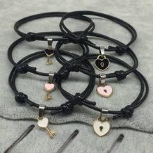 2 pcs/lot Couple Bracelet Alloy Key Heart Lock Charm Bracelet Handmade Jewelry Rope Bracelet