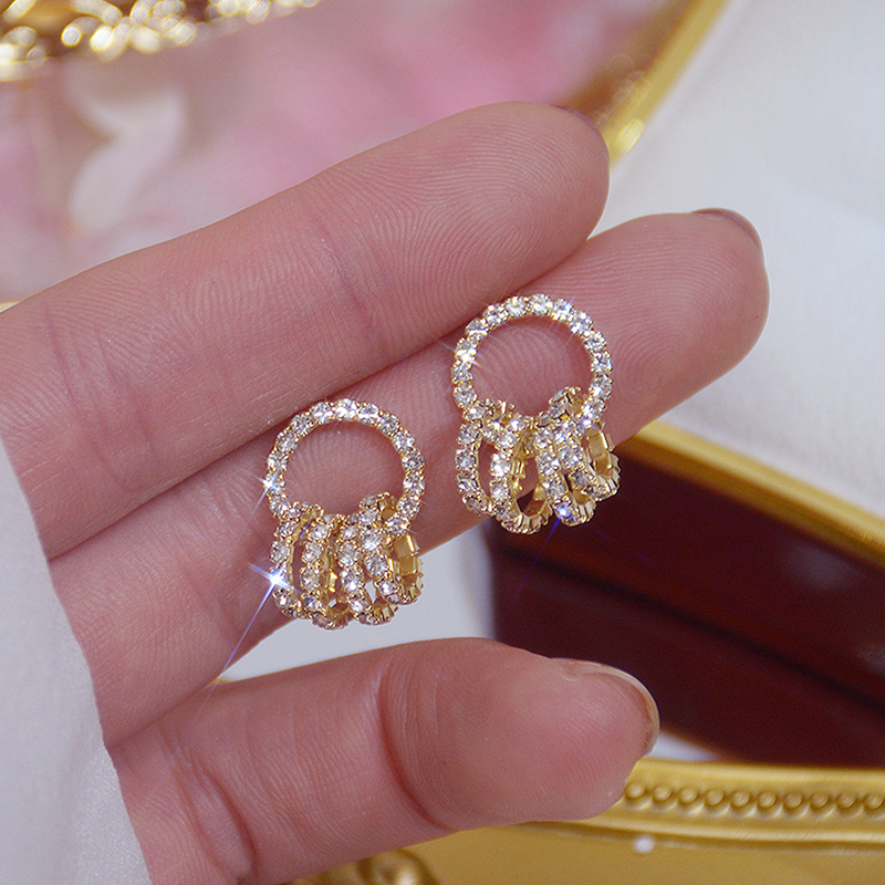Korean Super Shining Buckle Circle Earrings for Women 14k Real Gold Elegant AAA Zirconia Stud Earring Birthday Gift Brincos