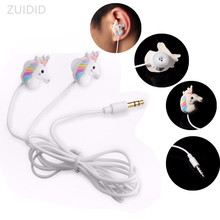 Cartoon Wired Headphones Cute Rainbow Horse Earphone 3.5mm With Mic Colorful Phone Kid Girls Gifts Free shipping Immediately
