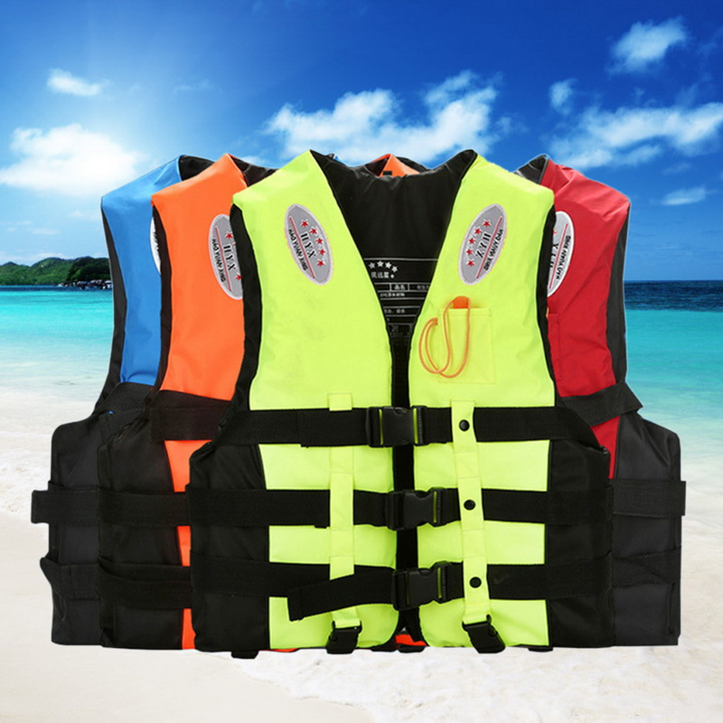 Life Vest Boating Swimming Ski Drifting With Whistle Water Sports Man Kids Jacket Polyester Adult
