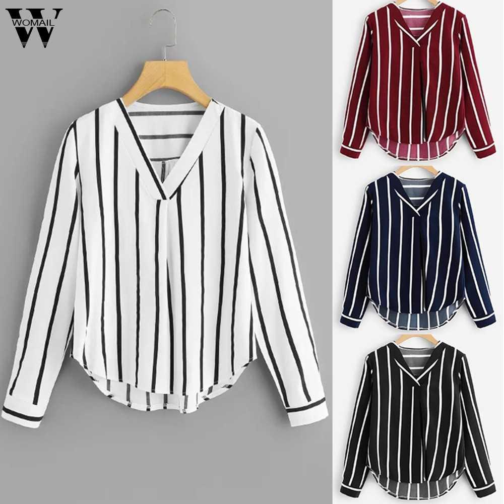 Womail bluse frauen Langarm V-ausschnitt Unregelmäßigen Streifen herbst Casual Regelmäßige Sudadera Mujer frauen bluse hemd S-XL