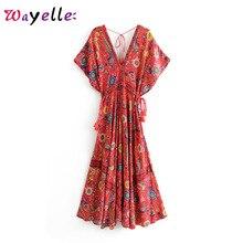 Party Dress Boho Vintage Floral Print Long Women Vestidos Verano 2019 Bandage V Neck Beach Style Summer Dresses