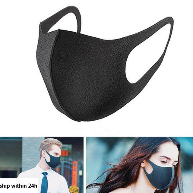 Fashion Nano-polyurethane Black Mouth Mask Anti Dust Mask Activated Carbon Windproof Mouth-muffle Bacteria Proof Flu Face Masks