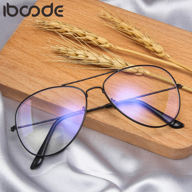 Iboode Metal Anti Blue Light Blocking Glasses Frame Men Women Computer Games Goggles Eyeglasses Optical Spectacle Frame Unisex